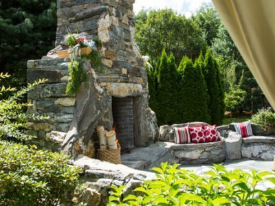 private residence outdoor fireplace